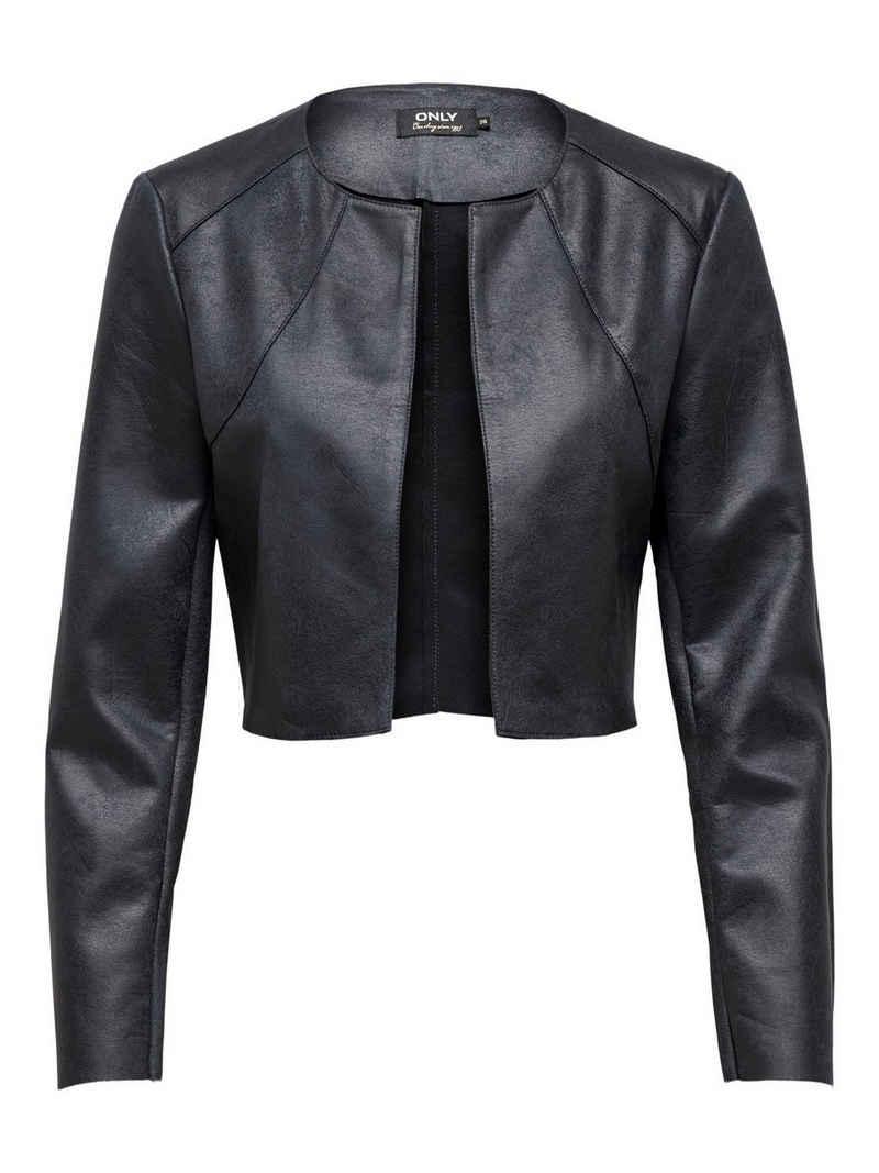 Only Lederjacke »3625« Damen ONLY Kunstleder Jacke Bolero Blazer ONLNEW Langarm Jacket
