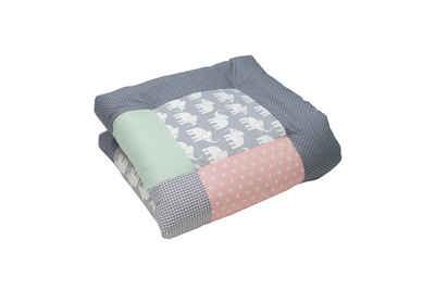 "Krabbeldecke »Baby Krabbeldecke 80x80 cm ""Elefant Mint Rosa"" (Made in EU)«, ULLENBOOM ®, Dick gepolstert, Außenstoff 100% Baumwolle, in verschiedenen Größen"