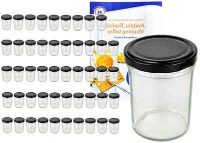 MamboCat Vorratsglas »50er Set Sturzglas 230 ml HOCH To 66 schwarzer Deckel incl. Diamant Gelierzauber Rezeptheft«