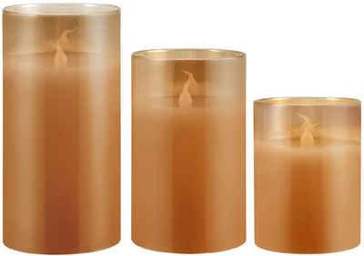 Pauleen LED-Kerze »Classy Golden« (Set, 3-tlg), Wachskerze Gold, Timer