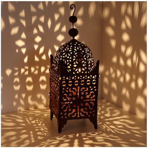 Casa Moro Laterne »Orientalische Laterne marokkanische Eisenlaterne Firyal H 80 cm edelrost-braun für draußen & Innen, hängend & stehend, Windlicht wie aus 1001 Nacht, L1649«, Eisen Rost Finish