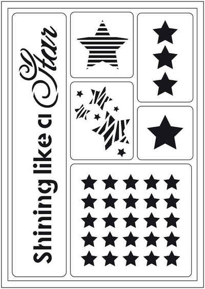 Viva Decor Malschablone »Schablone Shining like a Star«, 6 Motive