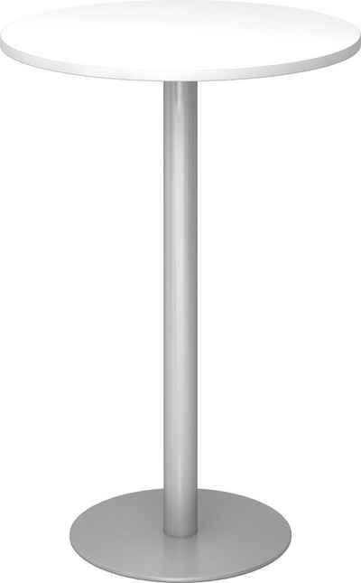 bümö Stehtisch »OM-STH08-S«, Pausentisch & Besprechungstisch - Platte: rund - Gestell: Silber, Dekor: Weiß