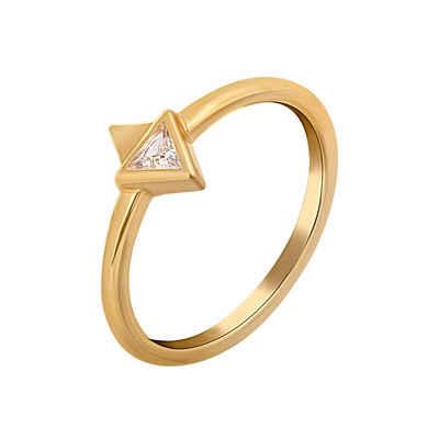 CAÏ Silberring »925 Silber vergoldet mit Zirkonia Dreieck«, Glänzend