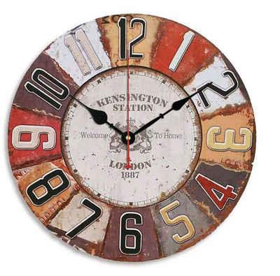 Wall-Art Wanduhr »Retro MDF Holz Wanduhr Metall Optik Wohnzimmer große Uhr Ø 40cm Quartz Uhrwerk«