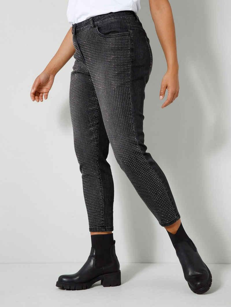 Angel of Style Stretch-Jeans vorne mit glitzernden Bügelnieten