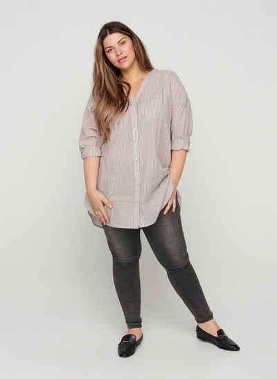 Zizzi Langarmshirt Große Größen Damen Gestreifte Hemdbluse aus Baumwolle mit V-Ausschnitt