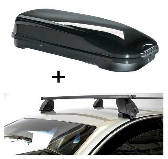 VDP Fahrradträger, Dachbox VDPFL580 580 Liter schwarz glänzend + Dachträger K1 MEDIUM kompatibel mit Dr Dr 3 (5Türer) ab 16
