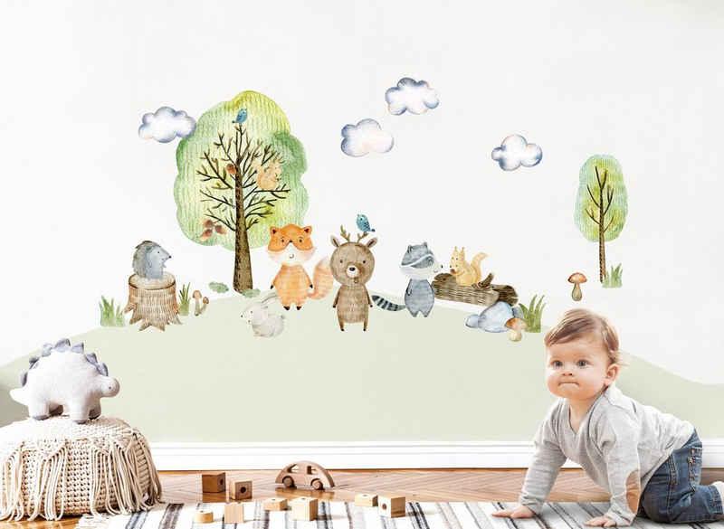 little DECO Wandtattoo »Little Deco Wandtattoo Waldtiere mit Bäume Pilze und Gras«