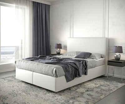 DELIFE Boxspringbett »Dream-Well«, Kunstleder Weiß 140x200 cm mit Matratze und Topper