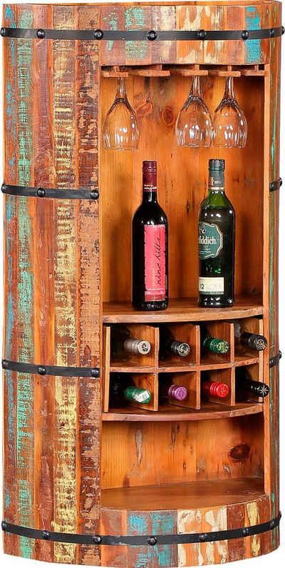 Ploß Barschrank aus recyceltem Altholz mit Farbresten, Shabby Chic, Vintage