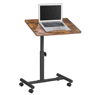 VASAGLE Beistelltisch »LET226B01«, Laptoptisch, mit Rädern, höhenverstellbar, klappbar, für Schlafzimmer, Homeoffice, vintage