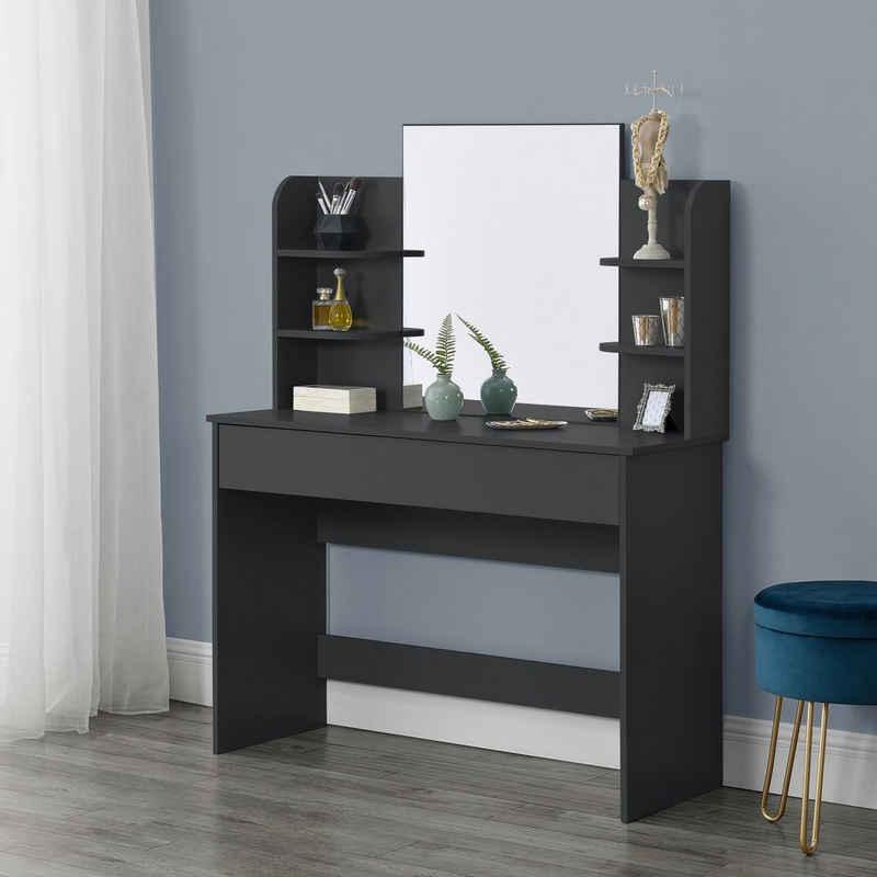 en.casa Schminktisch, »Eda« Frisierkommode mit Schublade und Spiegel 139,5x108x40cm schwarz