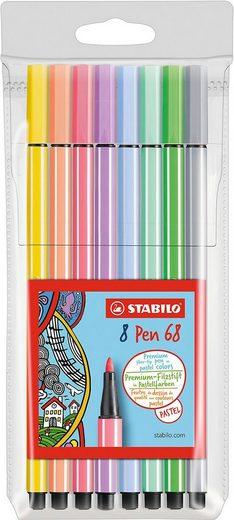 STABILO Dekorierstift »Filzstifte Pen 68 Pastell, 8 Farben«