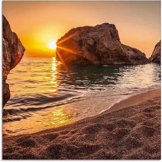 Artland Glasbild »Sonnenuntergang und Strand«, Strand (1 Stück)