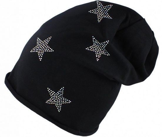 Sonia Originelli Beanie »Beanie Mütze mit Strass Applikationen Sterne filigran Baumwolle Fleecefütterung« Sterne