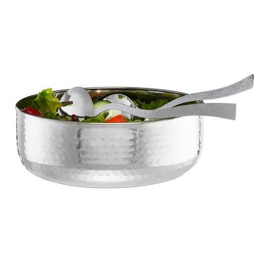 relaxdays Salatschüssel »Salatschüssel mit Besteck«, Edelstahl