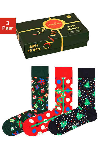 Happy Socks Socken (Box, 3-Paar) in der weihnachtlichen Geschenkpackung