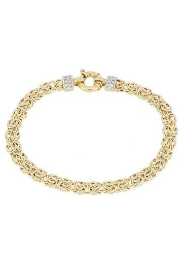 Firetti Goldarmband »Königskettengliederung, 6 mm breit, glänzend, teilw. rhodiniert, beidseitig bombiert, bicolor«, mit Diamanten