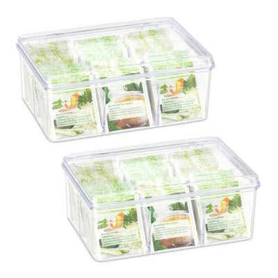 relaxdays Teebox »2 x Teebox transparent mit 6 Fächern«, PS