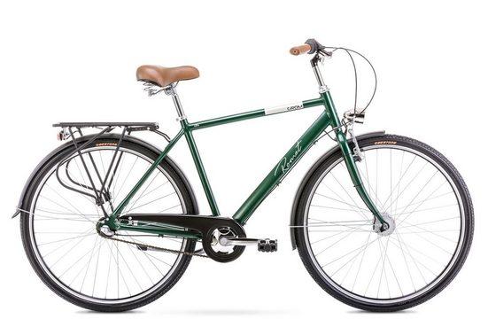 breluxx Cityrad »28 Zoll ALU Retro Herrefahrrad Grom mit Rücktrittbremse, Nexus 3 Gang, grün«, 3 Gang Shimano, Nabenschaltung