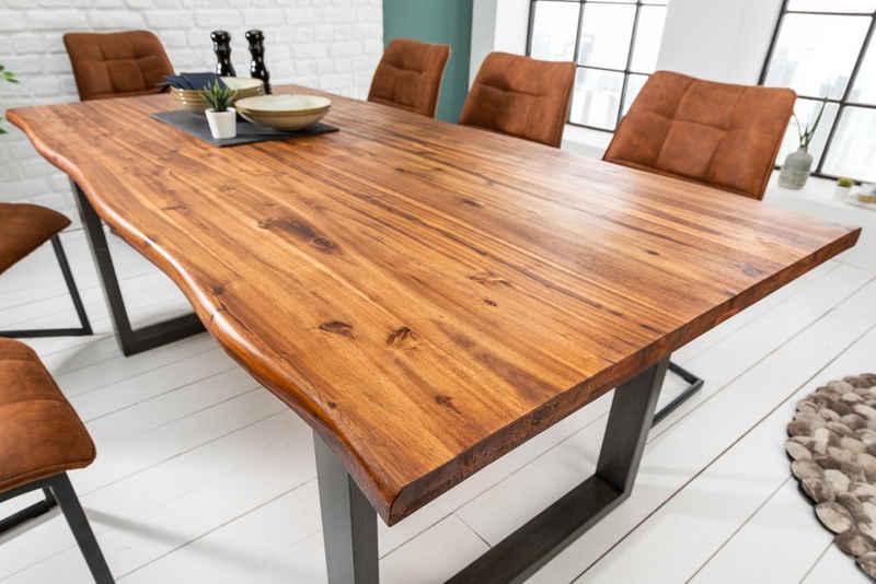 riess-ambiente Esstisch »GENESIS 140cm natur / grau«, Massivholz · Baumkante · Kufen-Gestell · 3,5cm Tischplatte · Akazie · Industrial