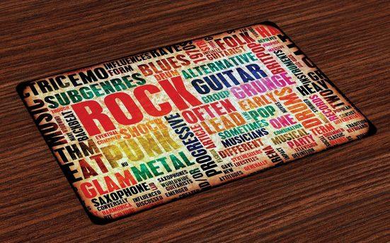 Tischdecke, »Waschbare Stoff Esszimmer Küche Tischdekorations Digitaldruck«, Abakuhaus, (4-teilig, 4 Teilig-St., Set aus 4x), Musik Musik Rock 'n' Roll-Plakat