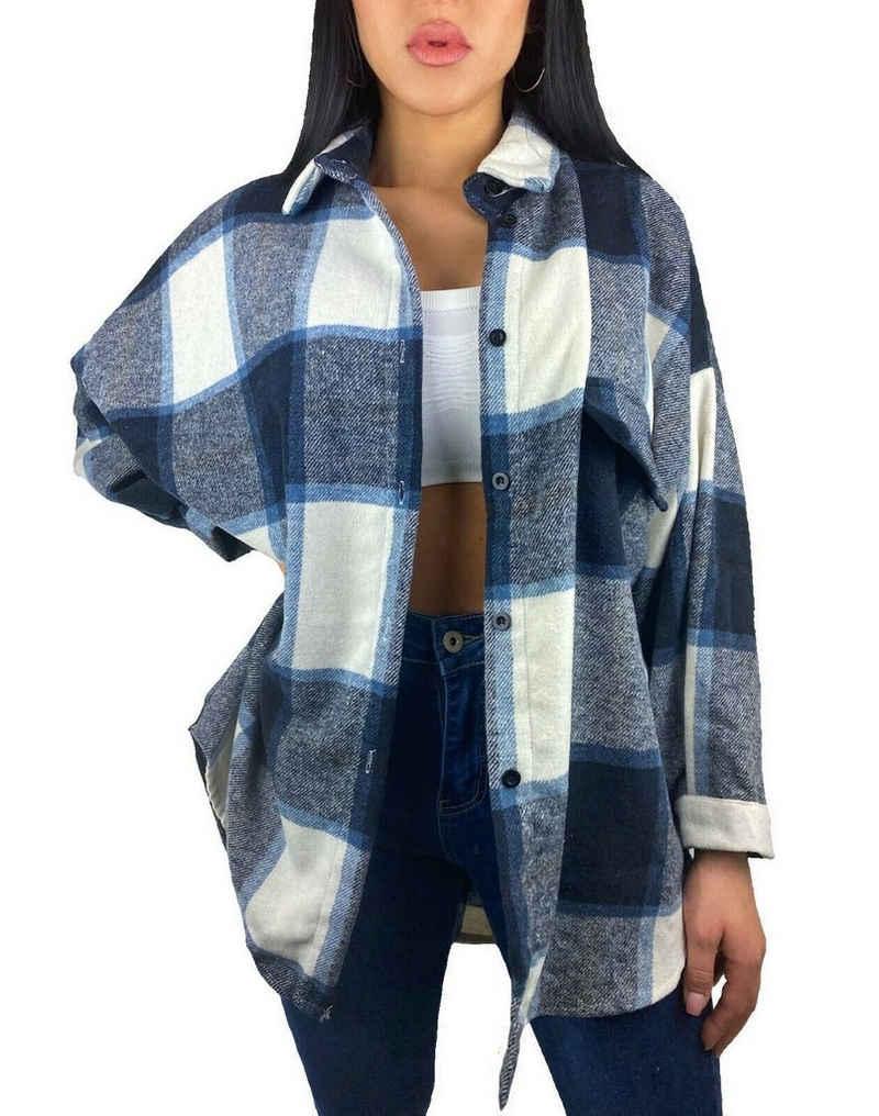 Worldclassca Flanellbluse »Worldclassca Damen HOLZFÄLLERHEMD Oversized KARO Hemd HEMDJACKE KARIERT LANGARMHEND HEMDBLUSE Bluse Shirt Designer Blogger NEU ONE Size S-L«