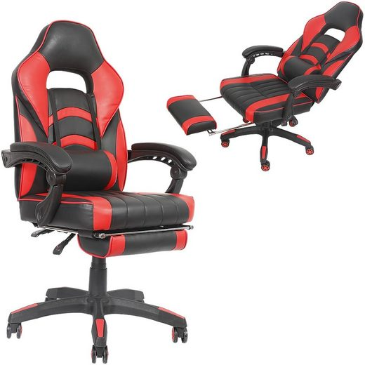 Mucola Gaming Chair »Bürostuhl Gaming Stuhl Racing Stuhl Schreibtischstuhl Drehstuhl Chefsessel Rot Schwarz«