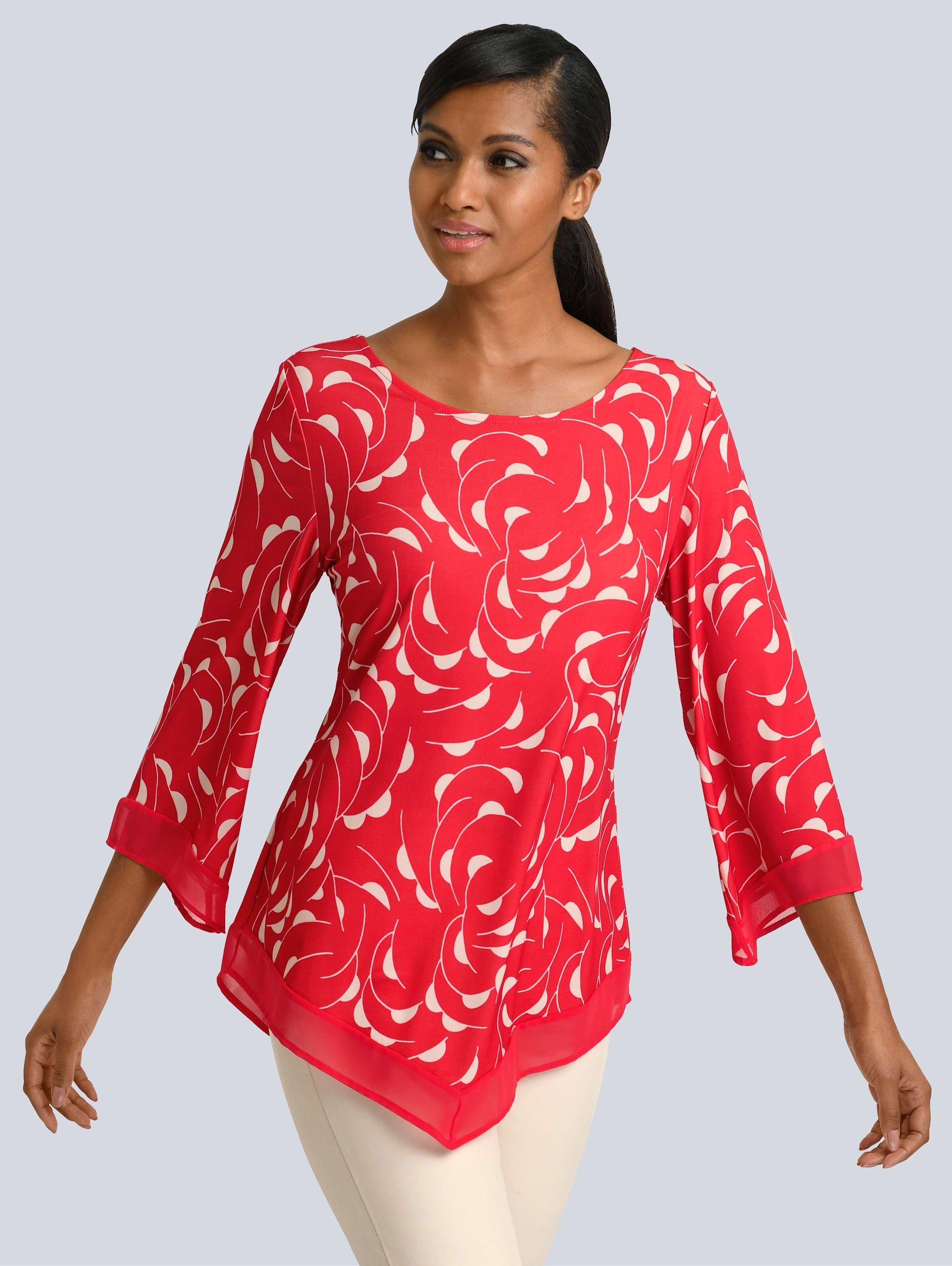 38 koralle Gr Alba Moda T-Shirt mit Blumendruck im Vorderteil NEU!!!