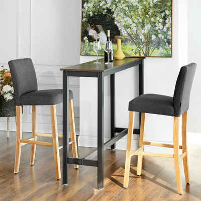 SONGMICS Barhocker »LDC31GY LDC31GYX«, Bar stool set of 2, imitation linen, seat height 71 cm, dark gray