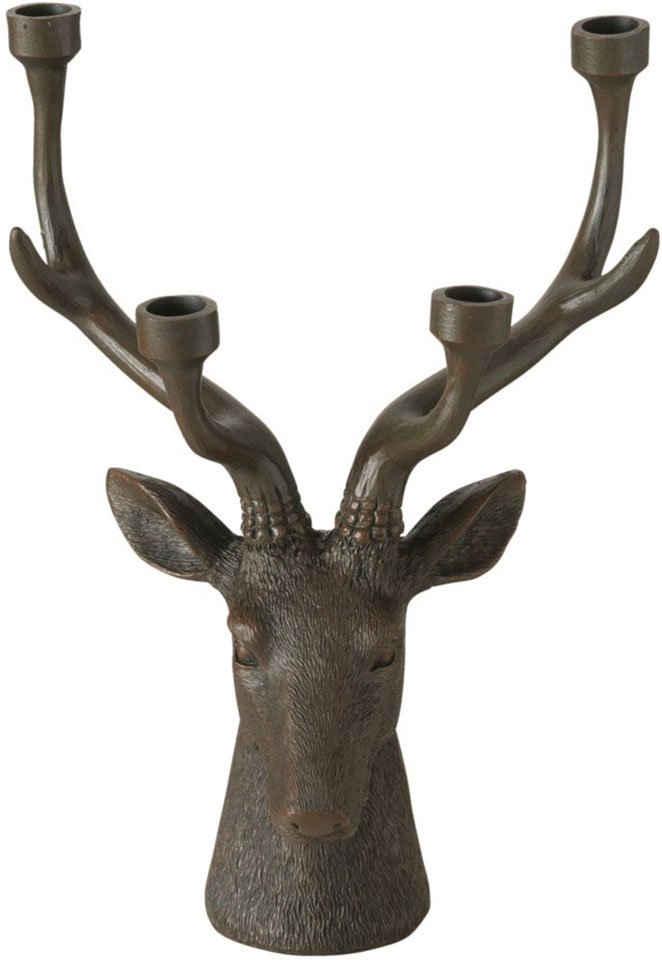 BOLTZE Kerzenleuchter »Lobo« (1 Stück), in Hirsch-Optik, 4-flammig, Höhe ca. 35 cm