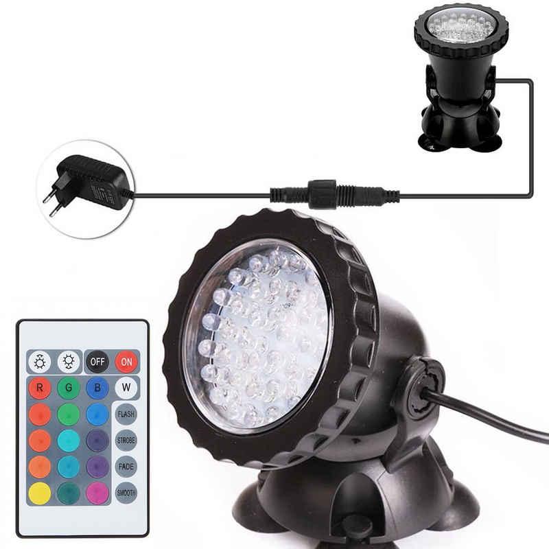 Rosnek Teichleuchte »36 LEDs,RGB,IP68,Mit Fernbedienung,für Aquarium Unterwasser Tauch Pool Brunnen Garten Beleuchtung«, LED Unterwasserscheinwerfer