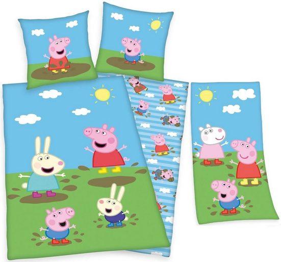 Kinderbettwäsche »Peppa Wutz - Kinder-Bettwäsche, 135x200 und Strandtuch, 75x150 cm von Herding - Peppa Pig«, Peppa Pig, 100% Baumwolle