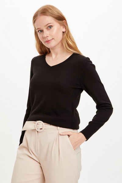 DeFacto Strickpullover »DeFacto Damen Pullover Regular Fit Langarmpullover mit V-Ausschnitt Basic Tops T-Shirt Pullover REGULAR FIT V NECK«