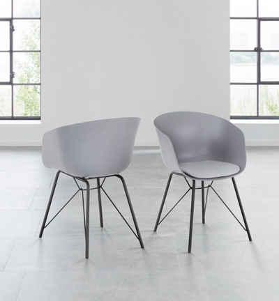 INOSIGN Armlehnstuhl »Edith« (Set, 2 Stück), Kunststoffschale mit Sitzkissen in Webstoff bezogen, schwarzes Metallgestell