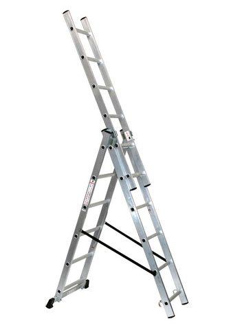 SZ METALL Schiebeleiter Aluminium 3 x 6 Sprossen...