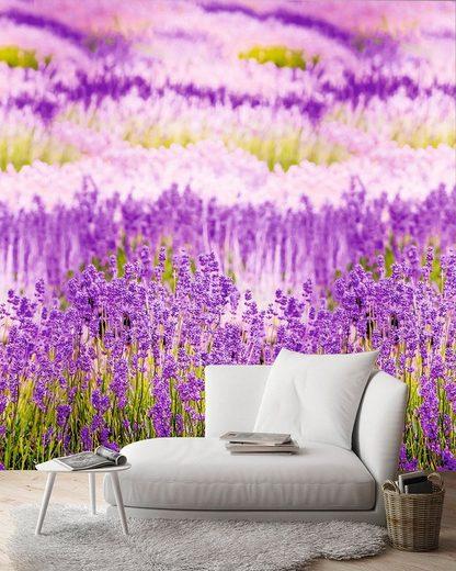 GRANDECO TAPETE Vliestapete »Lavendelblüten«, 1 Rolle á 3 Bahnen 159 cm x 280 cm