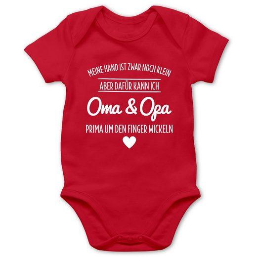 Shirtracer Shirtbody »Oma und Opa um den Finger wickeln - Baby Body Kurzarm - Strampler & Bodies« Sprüche Baby