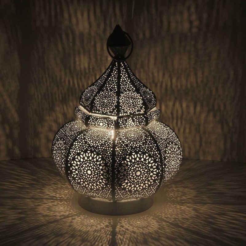 Casa Moro Nachttischlampe »Orientalische Tischlampe Fahid Höhe 30 cm in weiss gold mit E14 Fassung, Nachttischlampe aus Metall wie aus 1001 Nacht, Schöne Weihnachtsbeleuchtung Dekoration, LN2080«