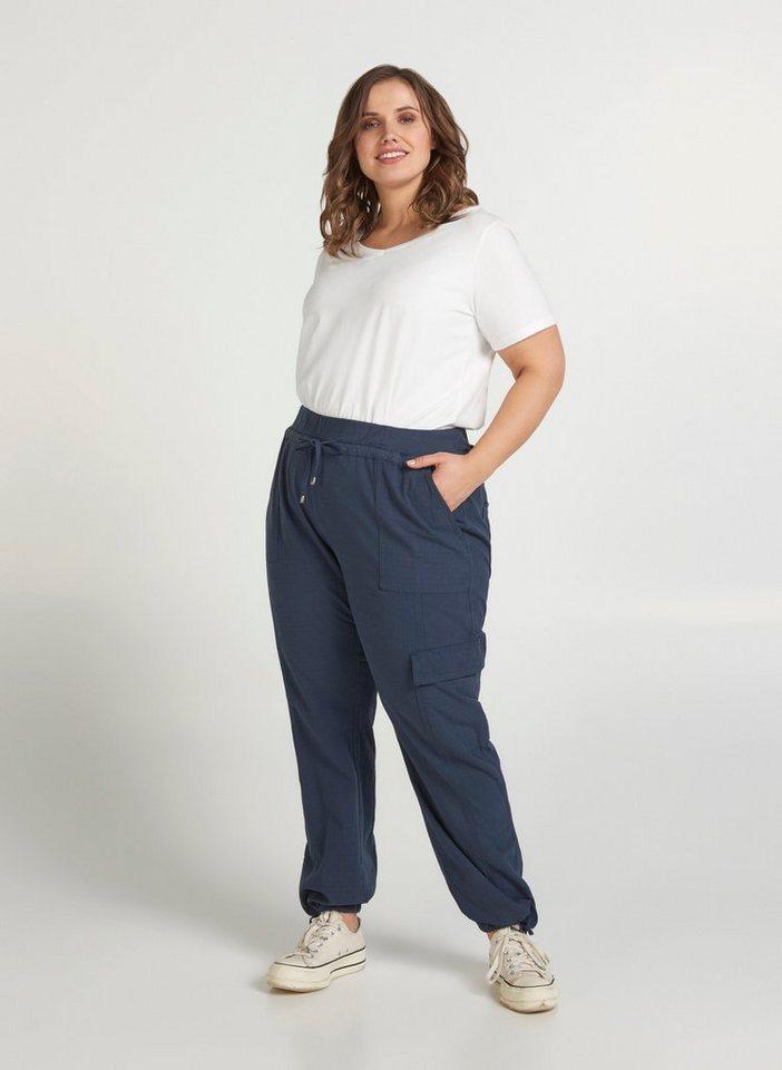 zizzi -  Stoffhose Große Größen Damen Baumwoll Hose mit Gummibund und Tunnelzug