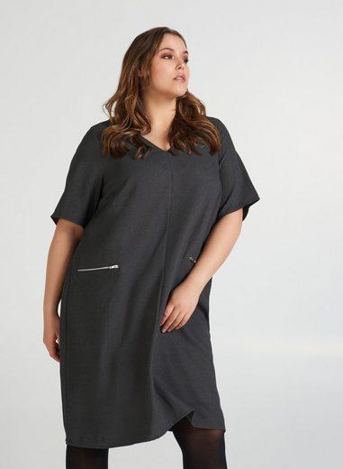 Zizzi Abendkleid Große Größen Damen Kleid mit kurzen Ärmeln und V Ausschnitt