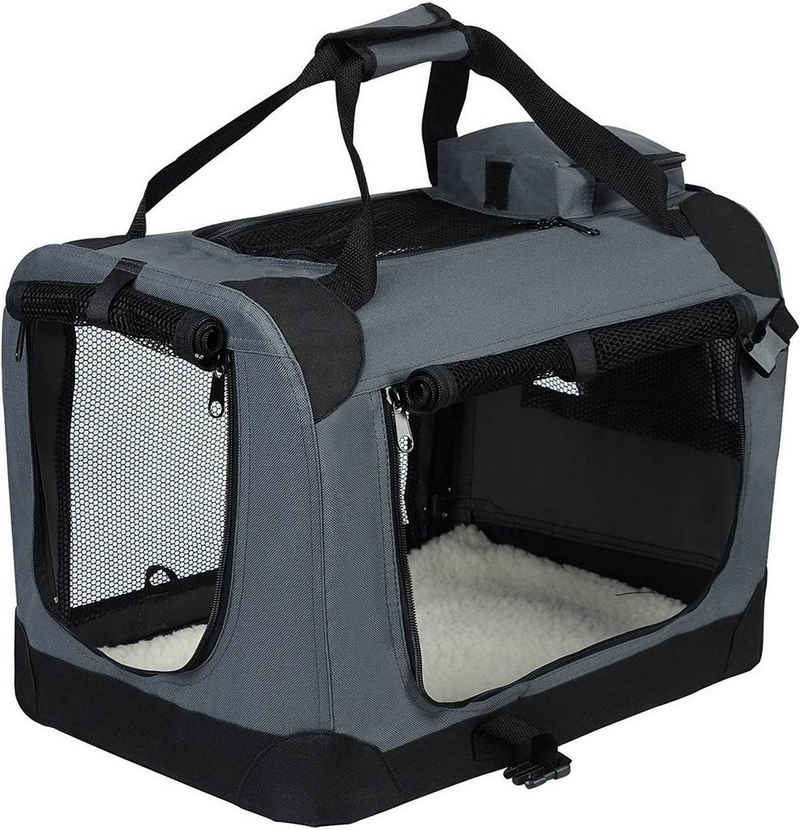 EUGAD Tiertransporttasche »0118HT«, Hundebox faltbar Hundetransportbox Auto Transportbox Reisebox Katzenbox Grau