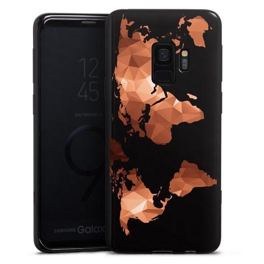 DeinDesign Handyhülle »Worldmap Triangle ohne Hintergrund« Samsung Galaxy S9, Hülle Weltkarte Landkarte Bronze