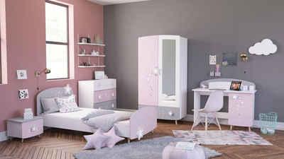 Kindermöbel 24 Jugendzimmer-Set »Kinderzimmer Mädchen Sternschnuppe 5-teilig rosa weiß grau«