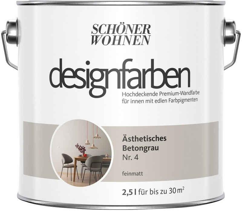 SCHÖNER WOHNEN-Kollektion Wand- und Deckenfarbe »Designfarben«, Ästhetisches Betongrau Nr. 4, feinmatt 2,5 l