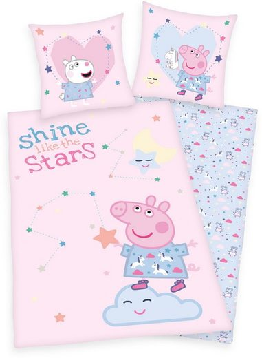 Kinderbettwäsche »Peppa Pig / Peppa Wutz«, mit tollem Peppa Pig-Motiv und Schriftzug