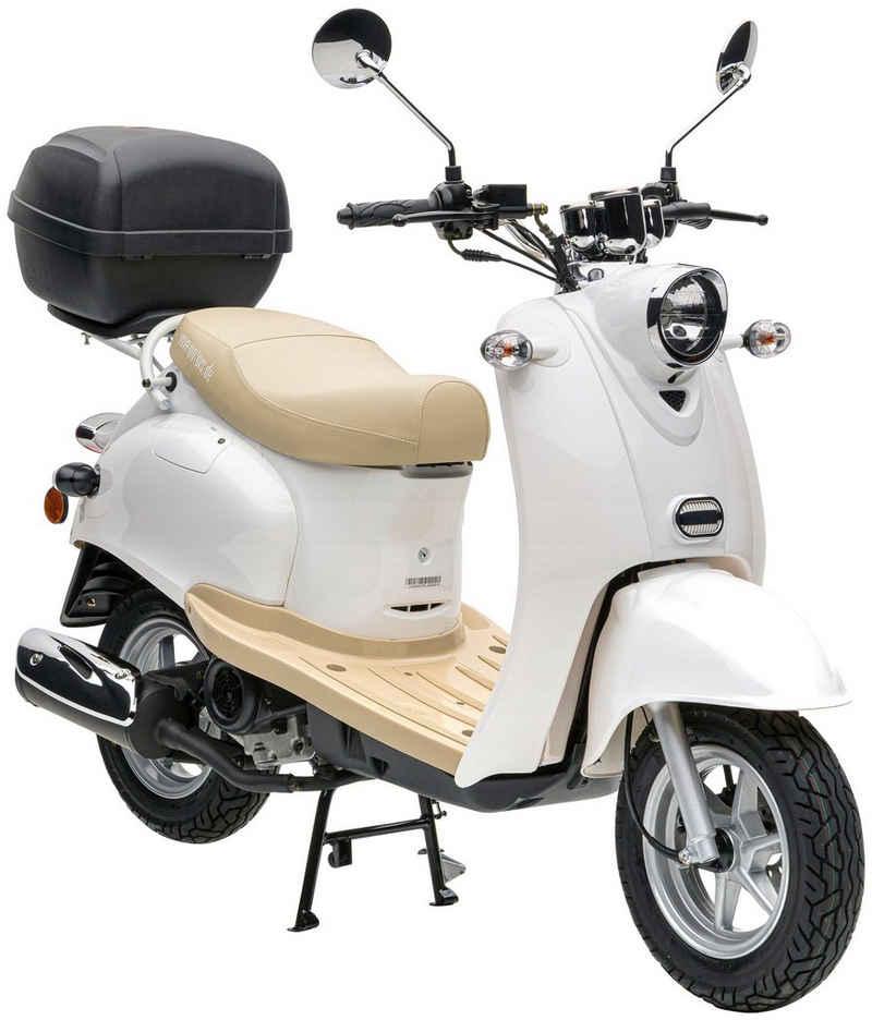 Nova Motors Motorroller »Retro Star«, 49 ccm, 45 km/h, Euro 5, (mit Topcase)