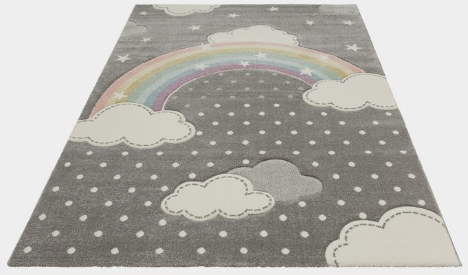 Kinderteppich »Regenbogen«, Lüttenhütt, rechteckig, Höhe 13 mm, Hoch-Tief-Struktur