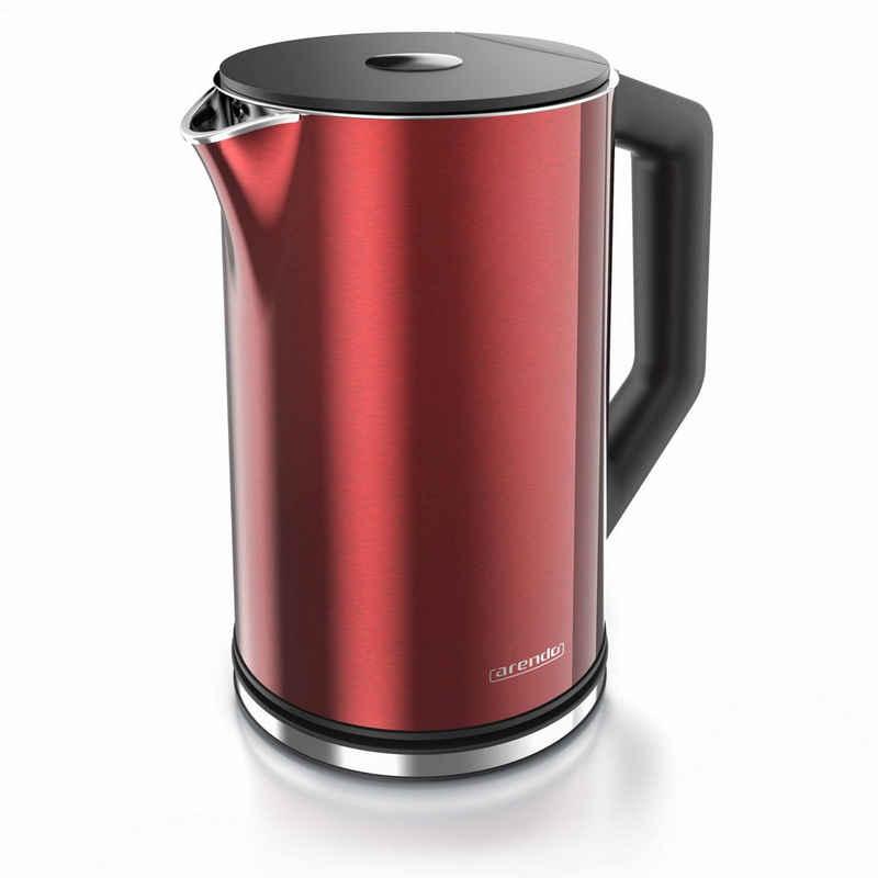 Arendo Wasserkocher, 1,5 l, 2200 W, Edelstahl Wasserkocher mit Temperatureinstellung 40-100 Grad - 1,5 Liter